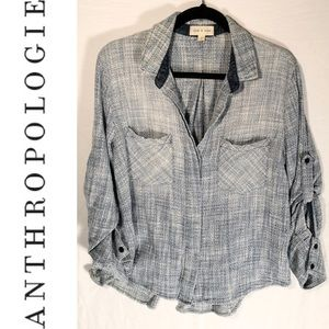Anthro Cloth & Stone Button Front Shirt Size LG